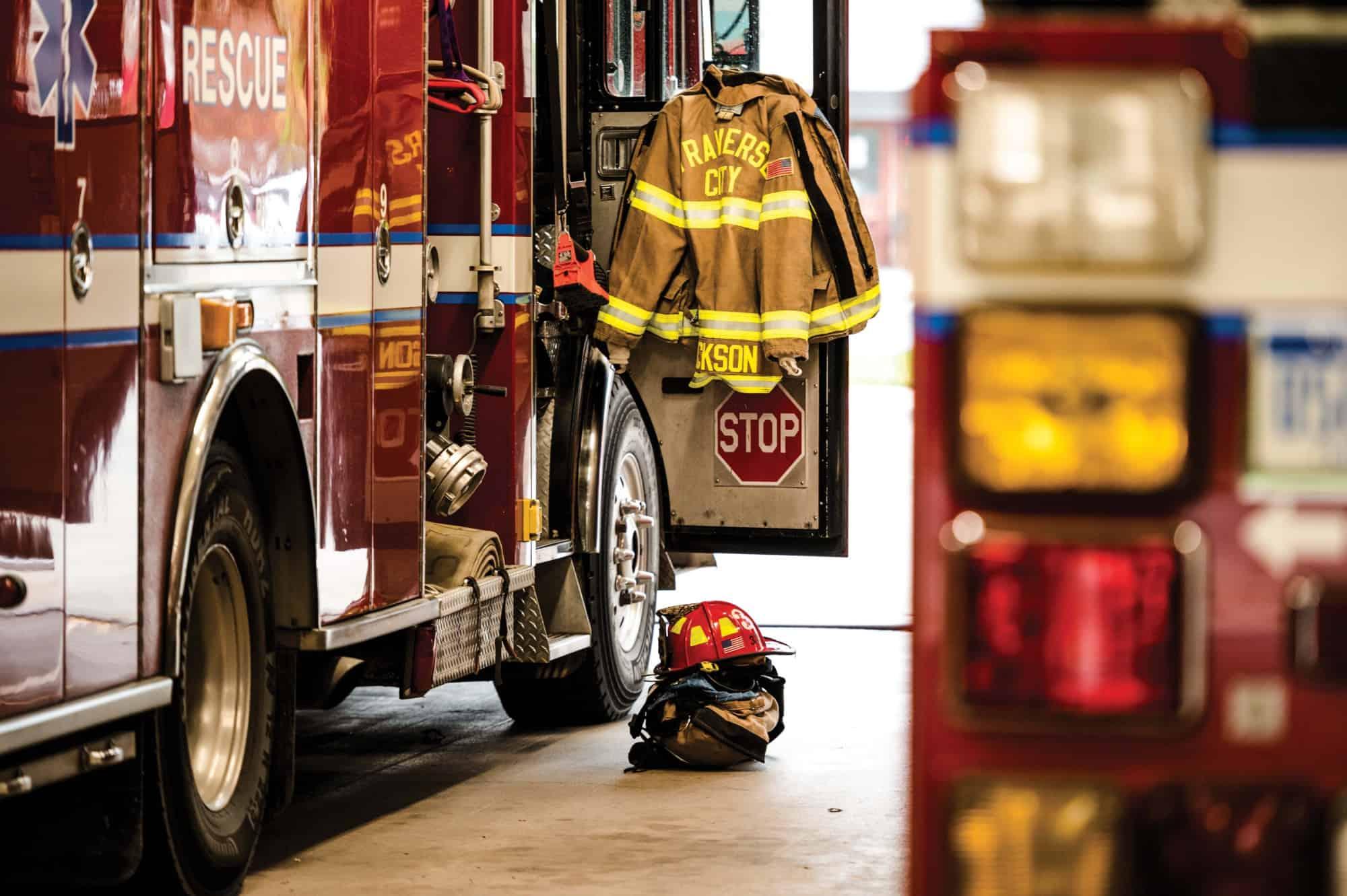 Traverse City firefighter trucks and uniform.