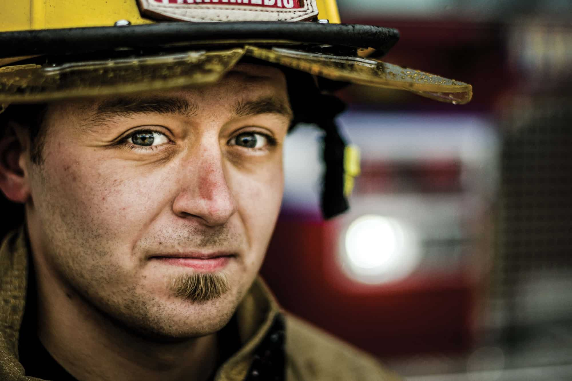 Close up of Traverse City firefighter.