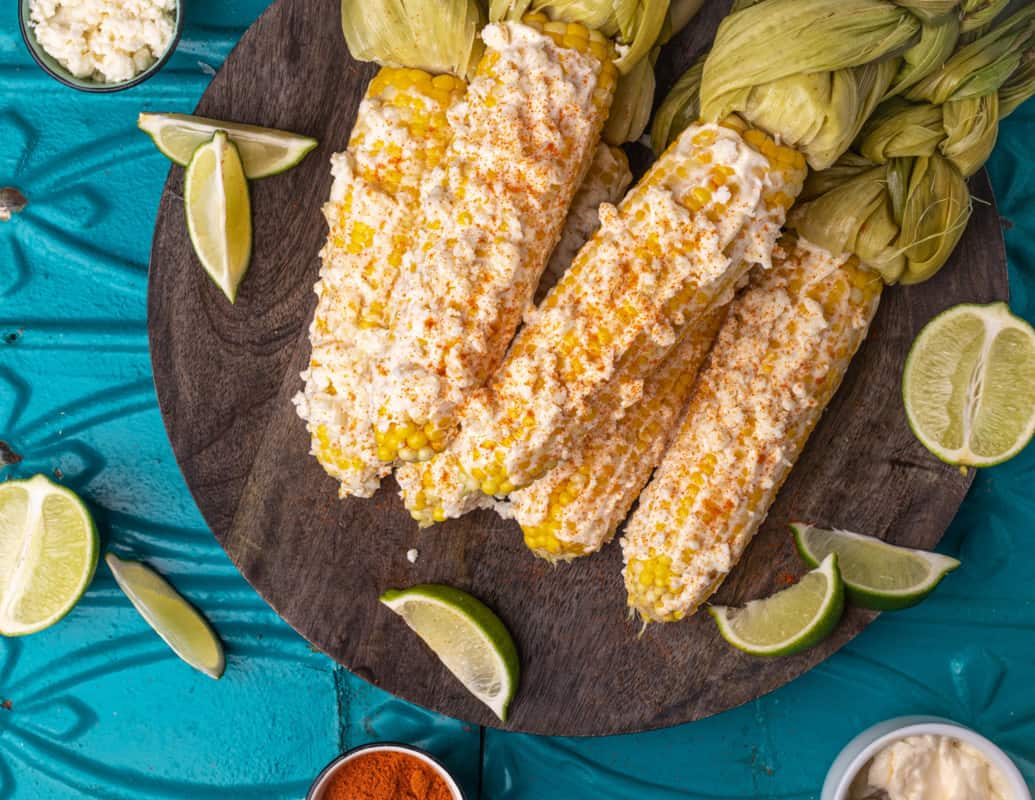 Mexican Street Corn or Elote made with fresh, Michigan corn.