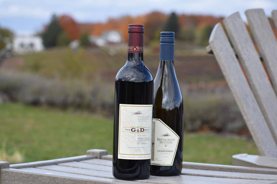 Two bottles of red wine with fall colors in the background.