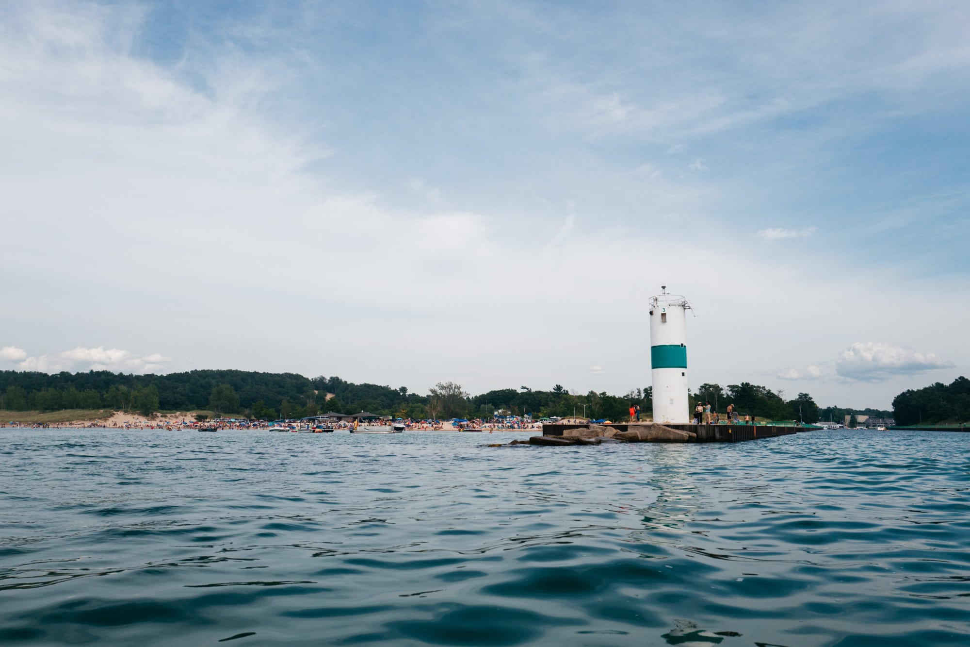 Pentwater lighthouse and beach
