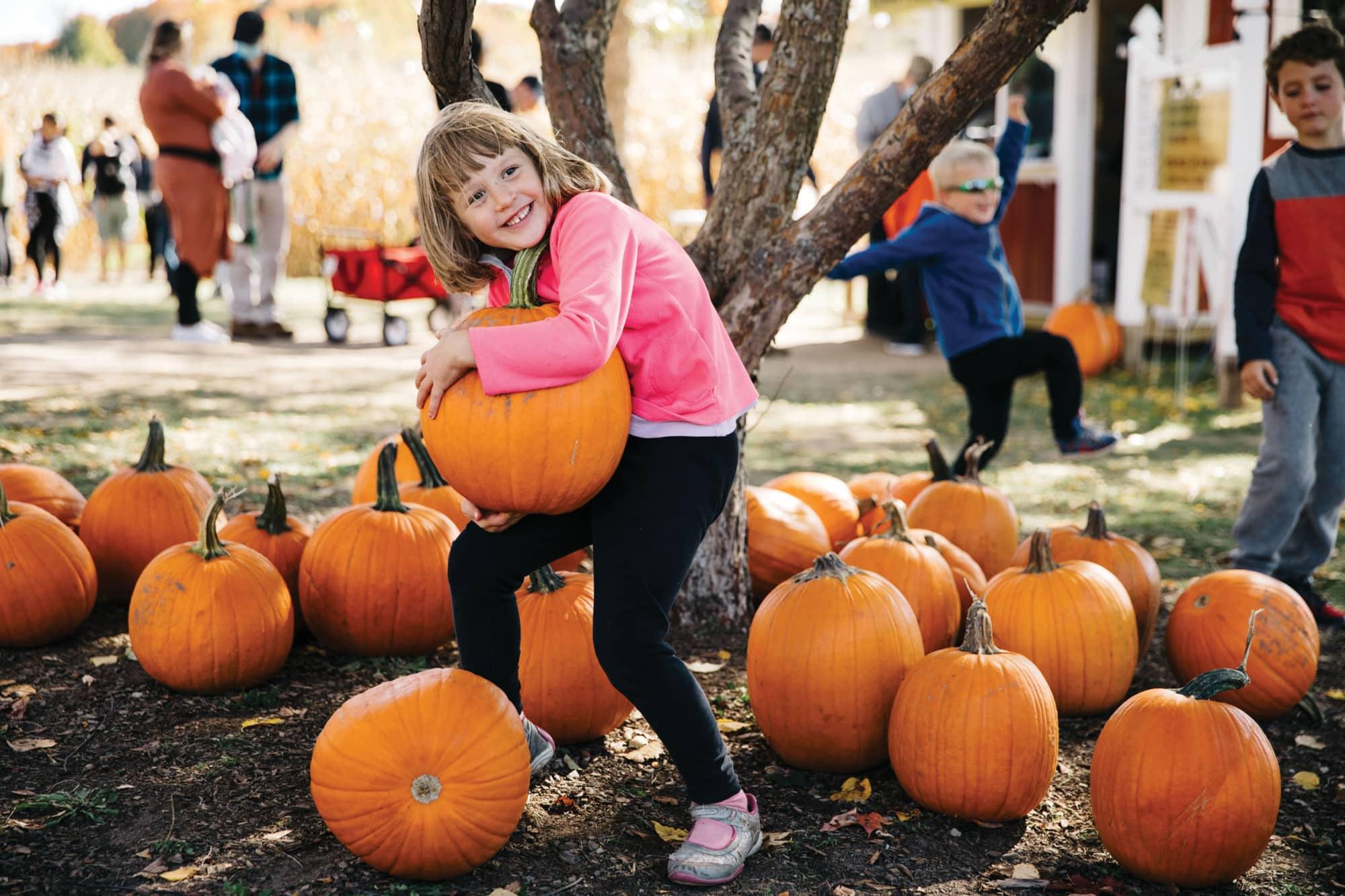 Girl with pumpkins at Jacob's Farm