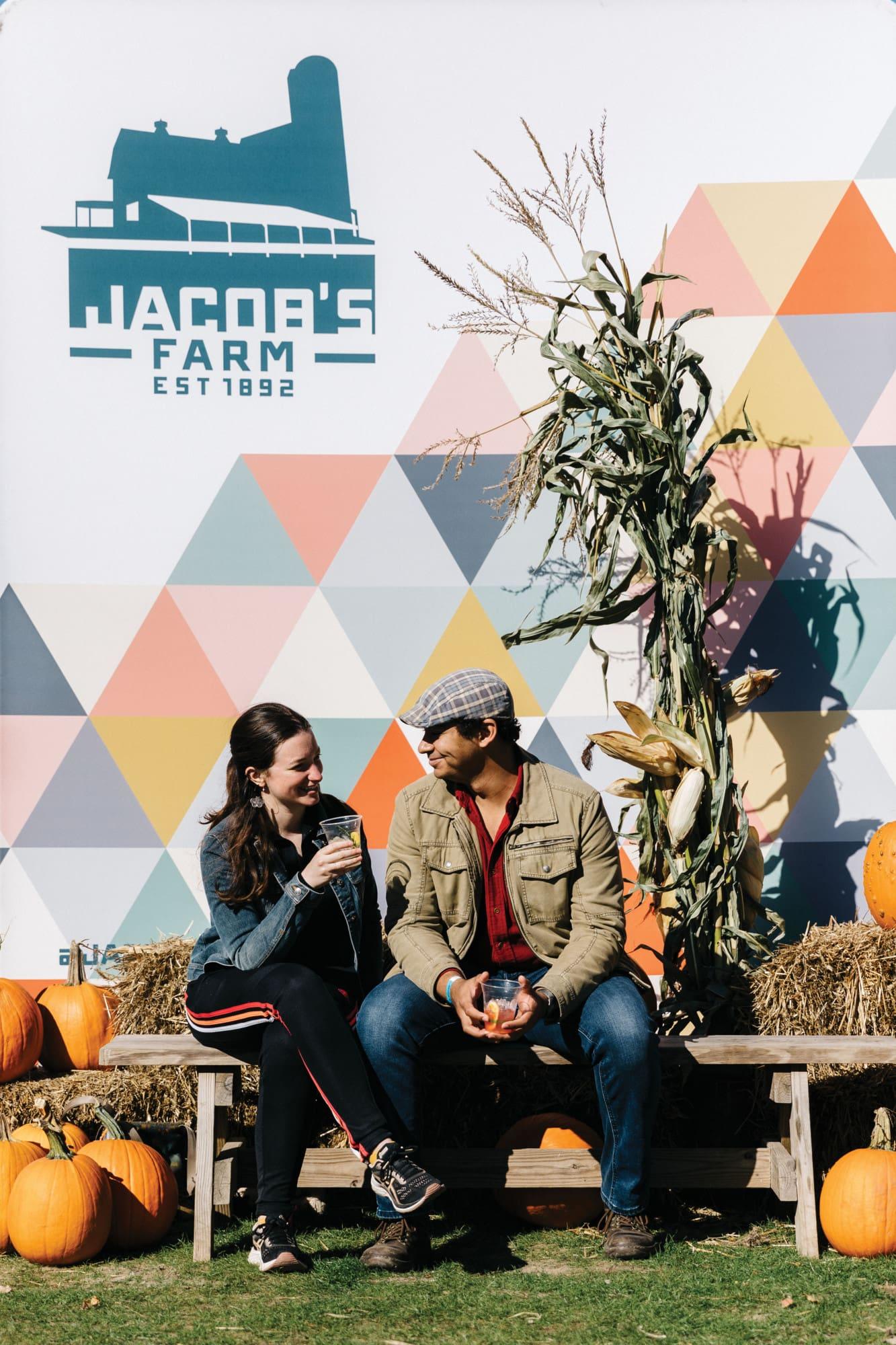 Couple sitting outside at Jacob's Farm