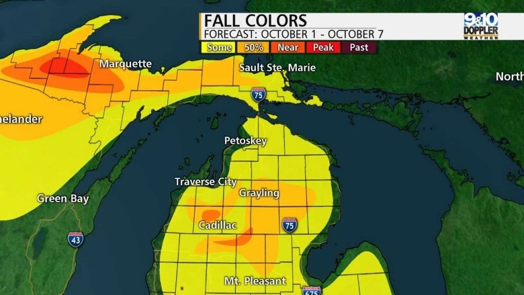 Map of fall colors in Northern Michigan.